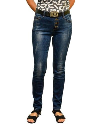 Джинсы женские ZHINYAN синие стрейч с ремнем 668