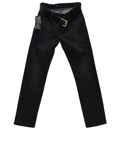 Джинсы мужские FANGSIDA черные с ремнем 0227