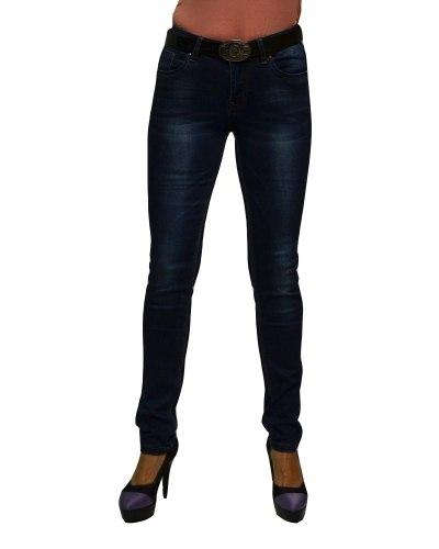 Джинсы женские VANVER синие стрейч с ремнем 8711