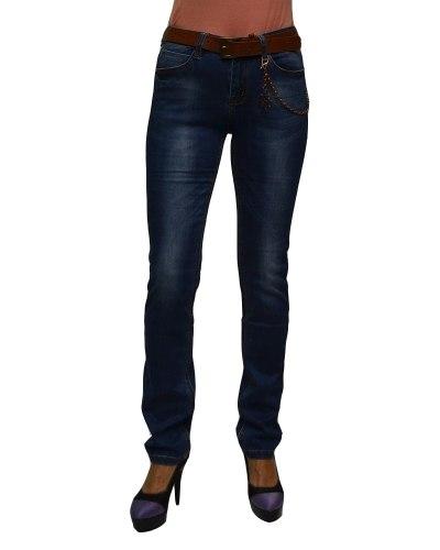 Джинсы женские VANVER синие стрейч с ремнем 8795