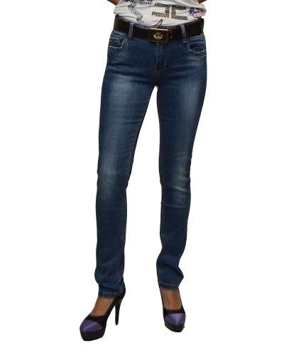 Джинсы женские DMARKS синие стрейч с ремнем 77325