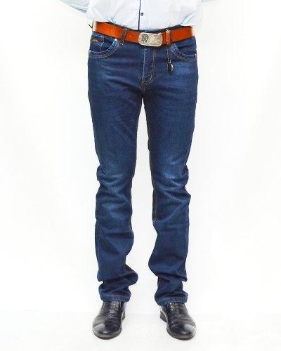 Джинсы мужские RESALSA синие с ремнем теплые 5991