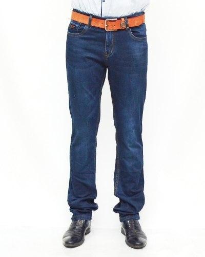 Джинсы мужские RESALSA синие с ремнем теплые 5994