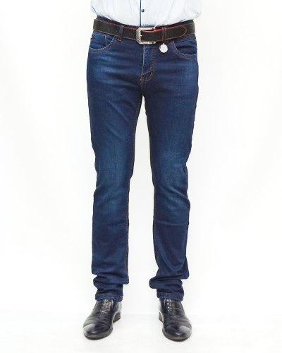 Джинсы мужские RESALSA синие с ремнем теплые 5997