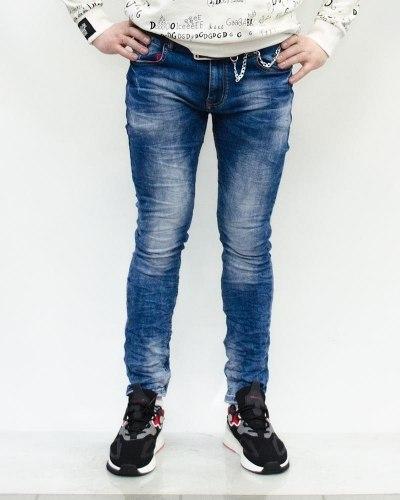 Джинсы мужские RITTER синие с ремнем 8029