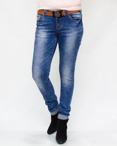 Джинсы женские CUDI голубые с ремнем 9792