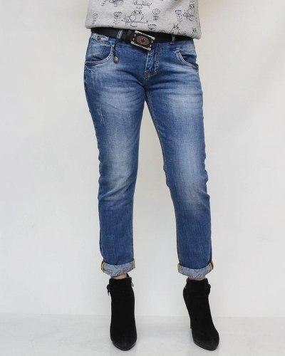 Джинсы женские DRAGON синие с ремнем 1005
