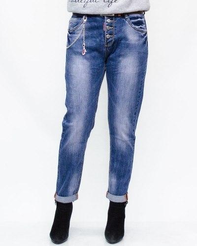 Джинсы женские LIKE синие с ремнем 6002
