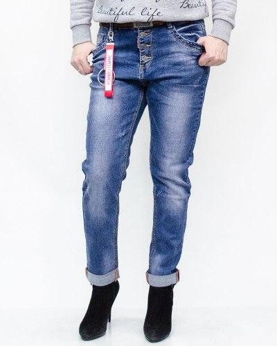 Джинсы женские LIKE синие с ремнем 6006-2