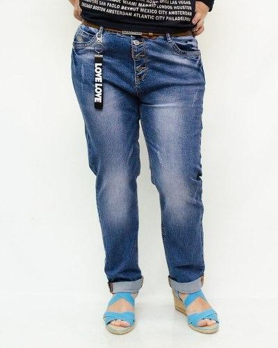 Джинсы женские LIKE синие с ремнем 6008-3