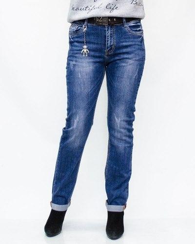Джинсы женские LIKE синие с ремнем 6020-3