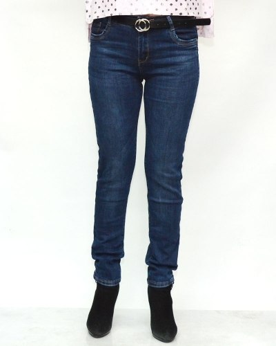 Джинсы женские MOON GIRL синие с ремнем 8739