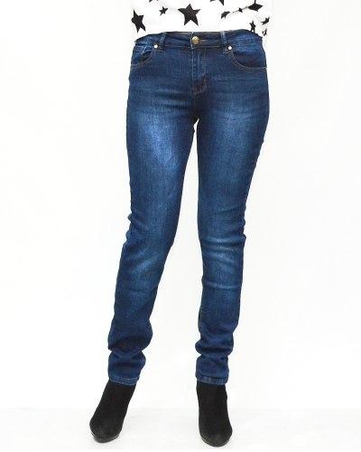 Джинсы женские MOON GIRL синие теплые 8865-1