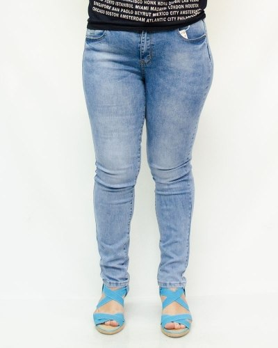 Джинсы женские MS голубые с ремнем 5779