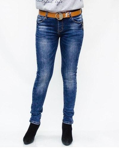 Джинсы женские MS синие с ремнем 6088
