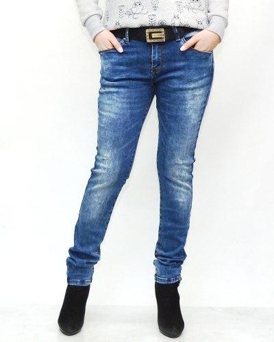 Джинсы женские MS синие с ремнем 6098
