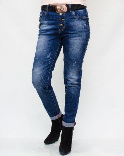 Джинсы женские RELUCKY синие с ремнем 168