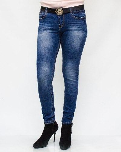 Джинсы женские RELUCKY синие с ремнем 601