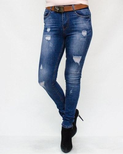 Джинсы женские RELUCKY синие с ремнем 804