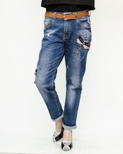 Джинсы женские RESALSA синие с ремнем 225