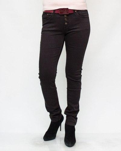 Джинсы женские VANVER коричневые с ремнем 8605