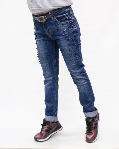 Джинсы женские VANVER синие ремнем 8125