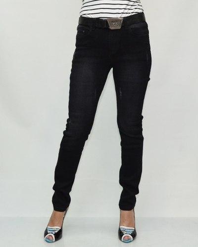 Джинсы женские VIVIAN черные с ремнем 6007