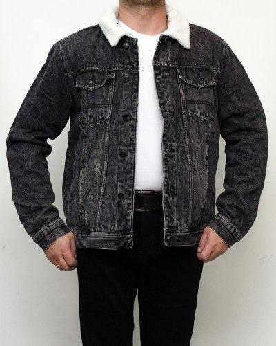 Куртка мужская джинсовая зимняя RESALSA серая на меху 9822