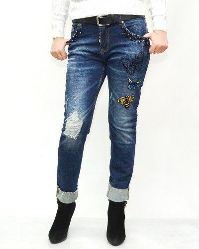 Джинсы женские LOLO синие с ремнем 9569