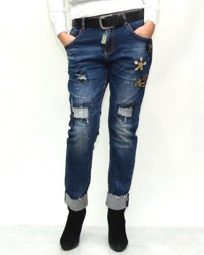 Джинсы женские LOLO синие с ремнем 9571