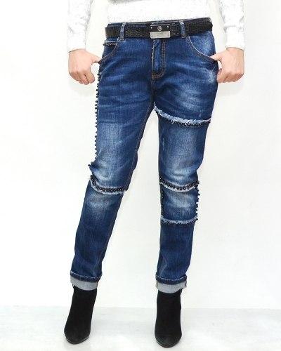 Джинсы женские LOLO синие с ремнем 9583