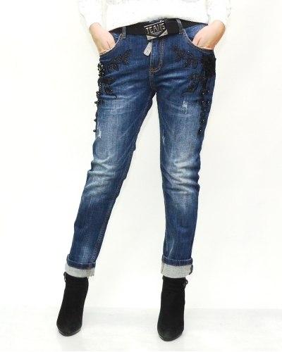 Джинсы женские LOLO синие с ремнем 9590