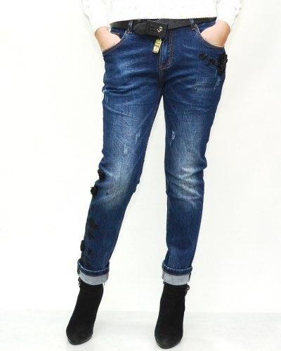 Джинсы женские LOLO синие с ремнем 9592