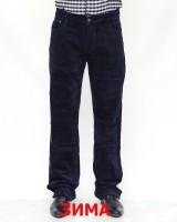 Джинсы мужские 839 синие вельвет теплые 6001
